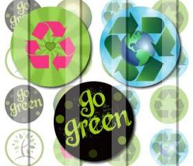 Go Green Recycle Symbols 1 INCH Circle Digital Bottle Cap Image Collage Sheet For Bottle Cap Jewelry, Key Chains, Zipper Pulls, Card Making Embellishments, Scrapbook Embellishments, and Hairbows