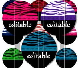 Zebra Print Colors Editable 1 INCH Circle Digital Bottle Cap Image Collage Sheet For Bottle Cap Jewelry, Key Chains, Zipper Pulls, Card Making Embellishments, Scrapbook Embellishments, and Hairbows