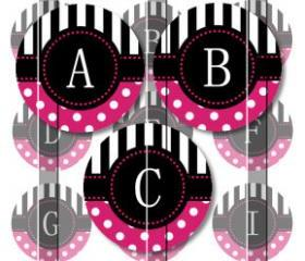 Pink Stripes and Polka Dots Alphabet 1 Initials Letters 1 INCH Circle Digital Bottle Cap Image Collage Sheet For Bottle Cap Jewelry, Key Chains, Zipper Pulls, Card Making Embellishments, Scrapbook Embellishments, and Hairbows