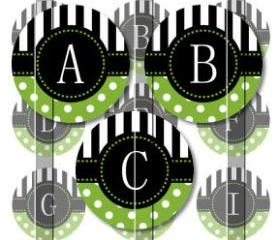 Green Stripes and Polka Dots Alphabet 1 Initials Letters 1 INCH Circle Digital Bottle Cap Image Collage Sheet For Bottle Cap Jewelry, Key Chains, Zipper Pulls, Card Making Embellishments, Scrapbook Embellishments, and Hairbows