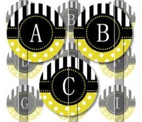 Yellow Stripes and Polka Dots Alphabet 1 Initials Letters 1 INCH Circle Digital Bottle Cap Image Collage Sheet For Bottle Cap Jewelry, Key Chains, Zipper Pulls, Card Making Embellishments, Scrapbook Embellishments, and Hairbows