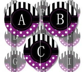Purple Stripes and Polka Dots Alphabet 1 Initials Letters 1 INCH Circle Digital Bottle Cap Image Collage Sheet For Bottle Cap Jewelry, Key Chains, Zipper Pulls, Card Making Embellishments, Scrapbook Embellishments, and Hairbows