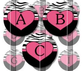 Zebra Print Heart Alphabet Initials Letters 1 INCH Circle Digital Bottle Cap Image Collage Sheet For Bottle Cap Jewelry, Key Chains, Zipper Pulls, Card Making Embellishments, Scrapbook Embellishments, and Hairbows